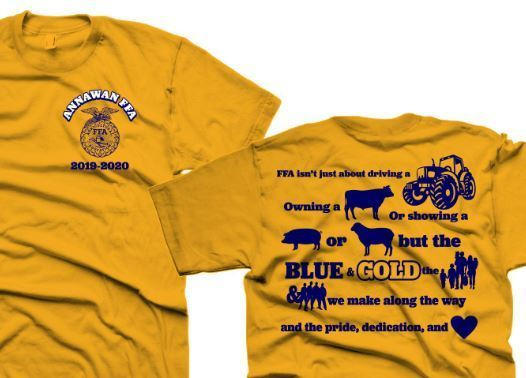 close up of the Annawan FFA shirt for 2019 - front and back