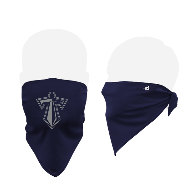 blue mask with the titan sword logo